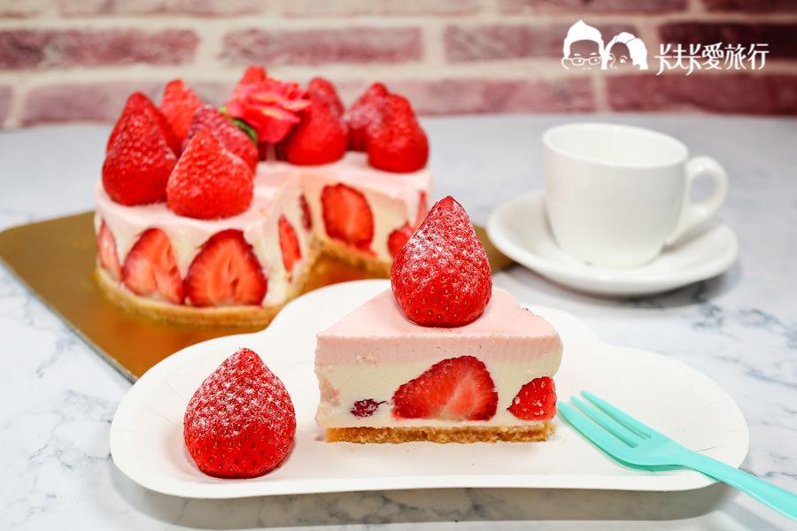 【網路美食】草莓控必買被草莓淹沒的蛋糕|花園腳印草莓生乳酪蛋糕